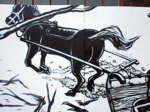 Pferd Graffiti Kunst zum Thema Lügenbaron von Münchhausen in Zusammenarbeit mit Felix Gephart zum Hafendampf Graffiti Festival im Rahmen der Ruhrgases 2015 in Essen